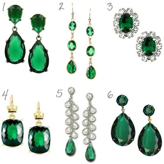 Emerald Green Earrings for Wedding Brides and Bridesmaids