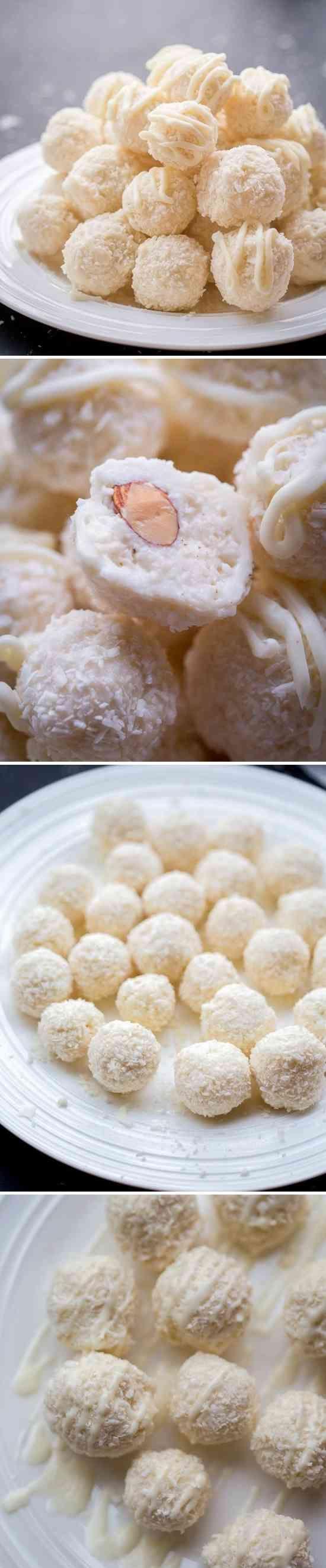 White Chocolate Coconut Candy (Raffaello Copycat) - cake, candy, chip, coconut, dessert, recipes, white chocolate