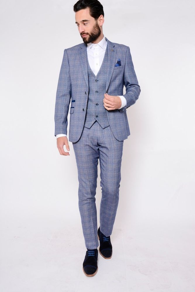 eb4817b1c46e Mens Marc Darcy Blue Check Slim Tailored Fit Tweed 3 Piece Designer Suit  (eBay Link)