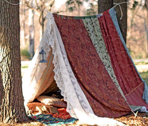 Boho meditatie vintage Gypsy lappendeken lace tent bed luifel bruiloft Tipi foto prop spelen tent Boheemse hippie glamping festival Onderdak