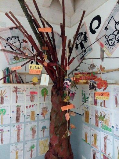 Albero realizzato con tubi di cartone, colorato con carta velina e tempera. Le decorazioni sono fatte con foglie decorate, parole d'autunno e foto di giochi autunnali.