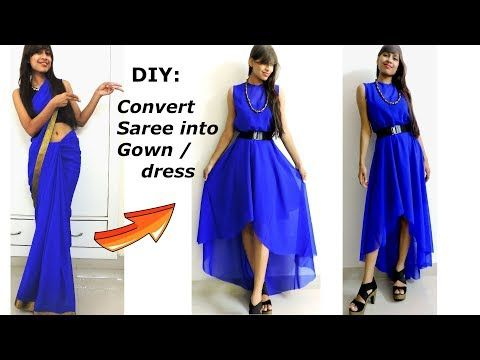 eb11586a32123 DIY: Convert/ Recycle/Reuse old Saree into High-Low GOWN/ DIY Maxi Dress -  YouTube