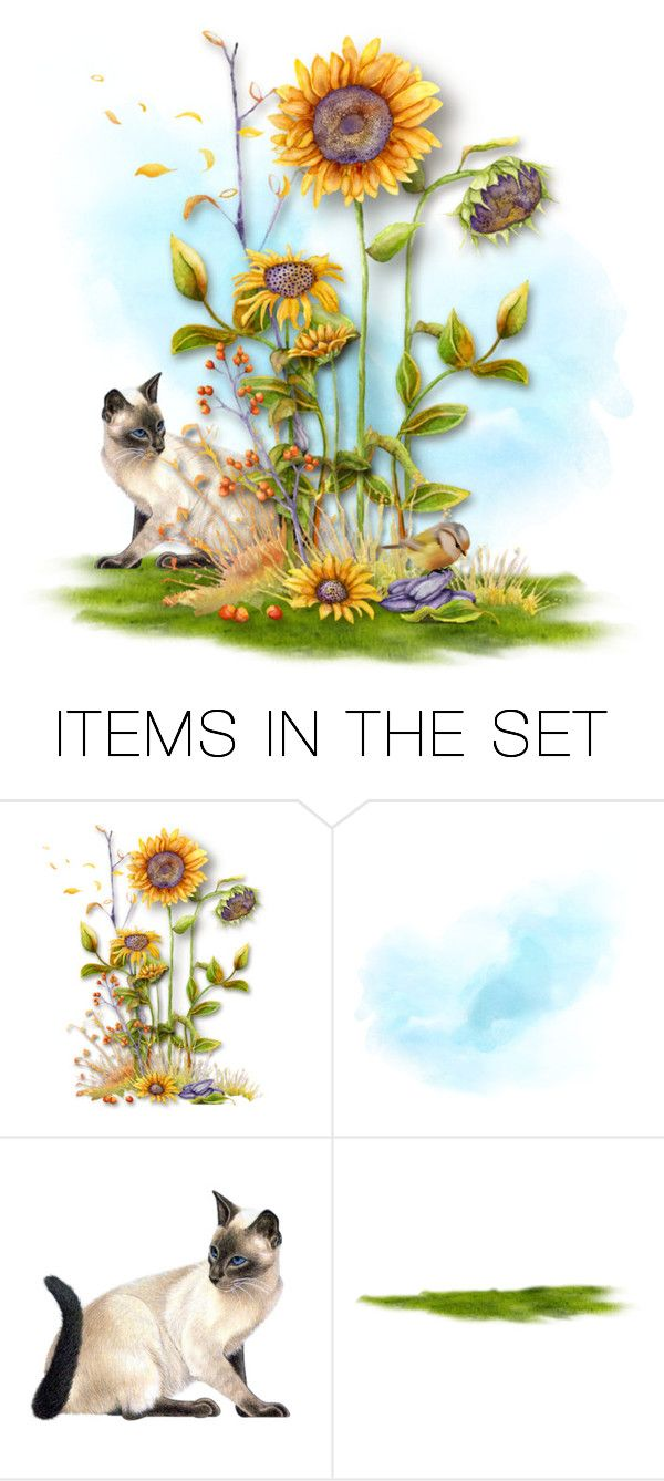 """""""Siamese & Sunflowers... Bird Watching"""" by marvy1 ❤ liked on Polyvore featuring art"""