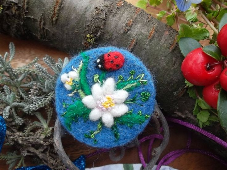 needle felted brooch edelweiss pin floral felt jewelry japan art flower brooch unique boho hand embroidered birthday easter gift mother day by MondoTSK on Etsy
