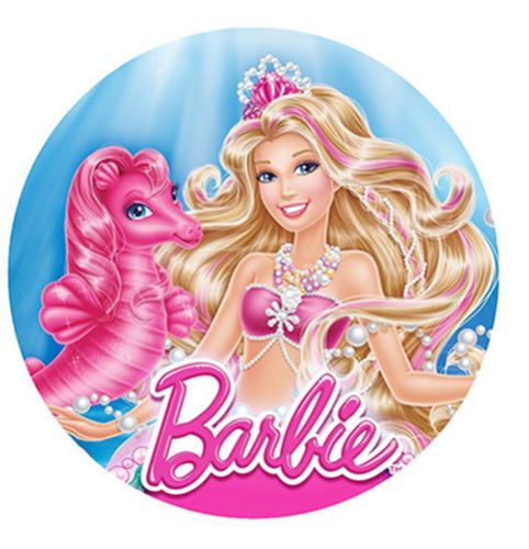 Details About 12 Barbie Mermaid Edible Wafer Paper Cupcake