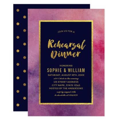 #Purple Pink Watercolor Faux Gold Rehearsal Dinner Card - rehearsal dinner invitations #rehearsal #dinner #invitations #weddinginvitations #wedding #invitations #party #card #cards #invitation #rehearsaldinner