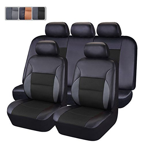 CAR PASS 11-Piece PU Leather Automotive Universal Seat Covers Set with 5mm Composite Sponge (Black)