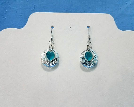 Caged Heart Blue and Silver All items from 2nd Wind Accessories are made by combining new materials with upcycled, recycled and /or reclaimed materials to create a new one-of-a-kind accessory or gift. https://www.etsy.com/shop/2ndWindAccessories