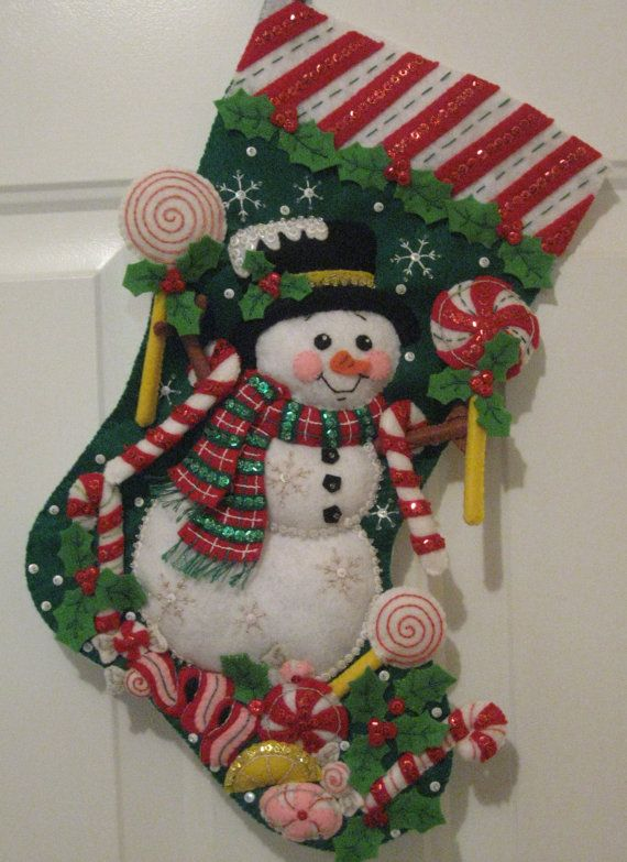 "Bucilla Christmas Felt Stocking...Candy Snowman 18""  ***FREE SHIPPING***"