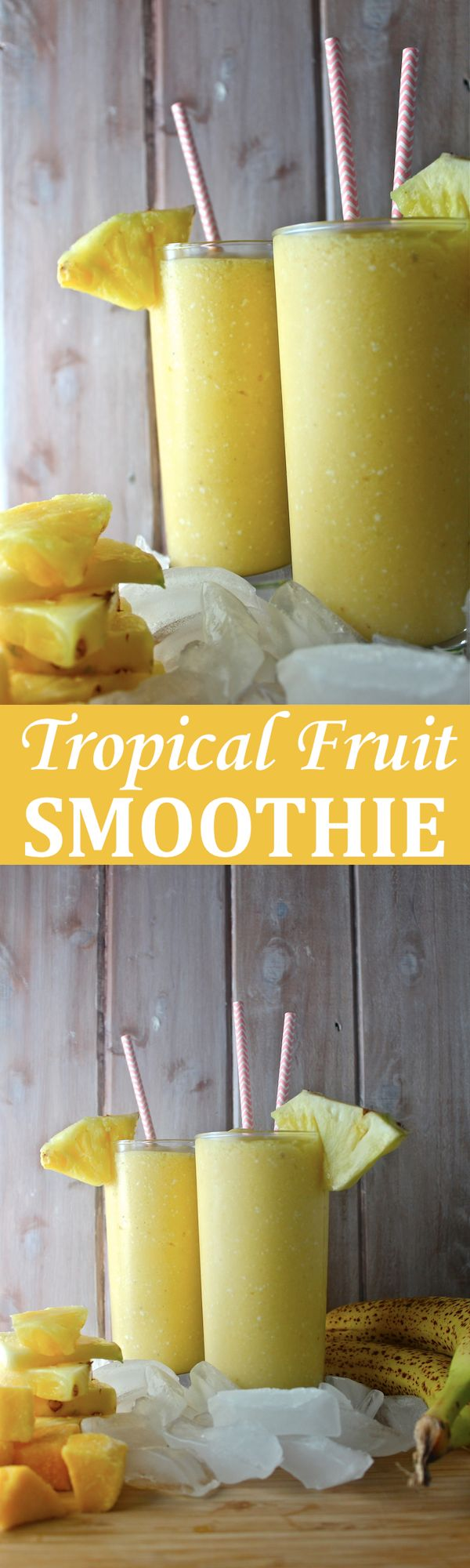 This Tropical Fruit Smoothie - with lots of pineapple, mango, and rich coconut milk - is fruity, frosty, tart, and creamy! | The Millennial Cook #winterrecipe #smoothie #orange #banana #mango #pineapple #coconut