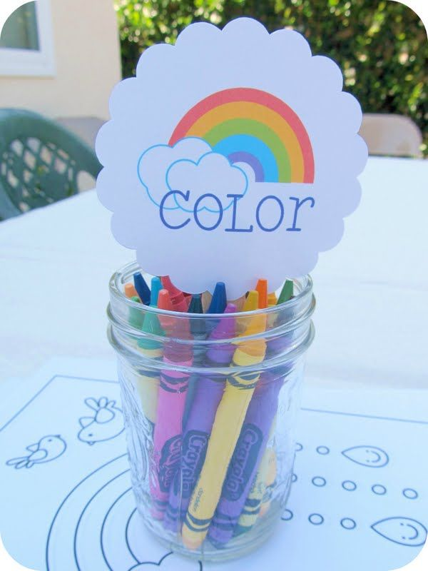 Crayon coloring station. Split crayons in buckets by color. Guests can color pictures for themselves and/or to put in birthday book for B.