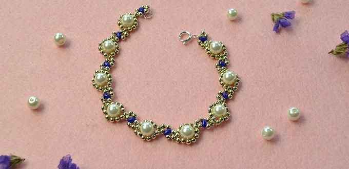 How Do You Make a Gold Flower Pearl Beads Bracelet with Acrylic Beads and 2-Hole…