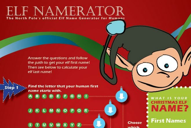 Follow the path in the Christmas Elf Name Generator below to find out what your Christmas elf name is. Don't forget your elf last name at the bottom! Happy Holidays!