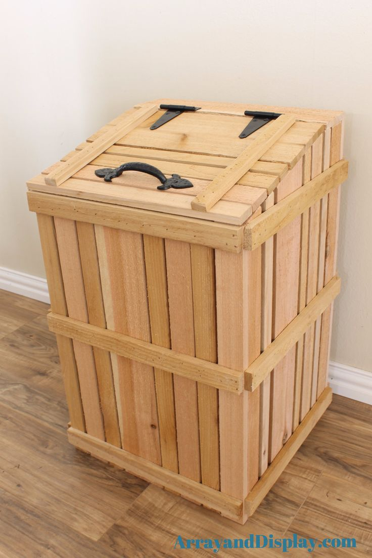 Handcrafted rustic kitchen trash can cover made of hand-split cedar with trashcan included. The cover easily lifts off for easy access and garbage removal. - made of solid, hand-split cedar from a loc