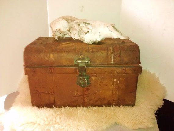 Antique English Metal Trunk T Thomasson Co Tin Trunk