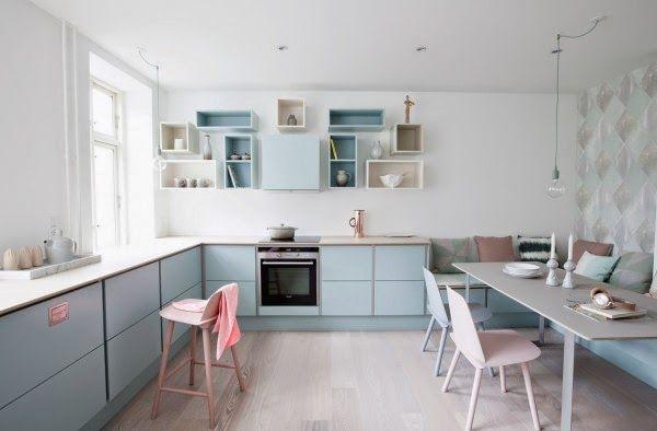my scandinavian home: A Danish kitchen in pretty pastels