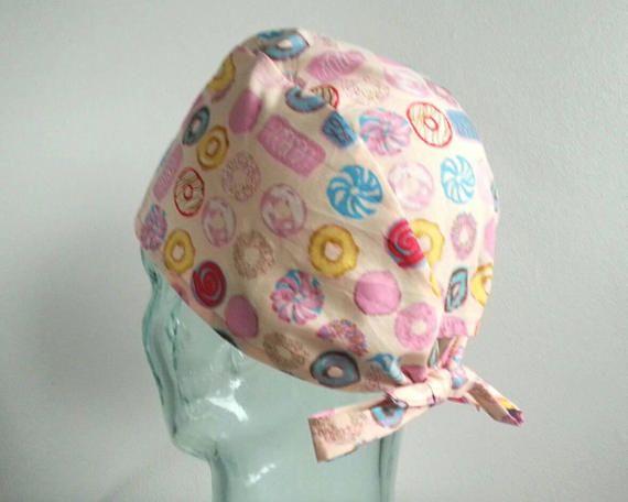 Delicious Doughnuts Tie Back Scrub Hat Scrub hats scrub