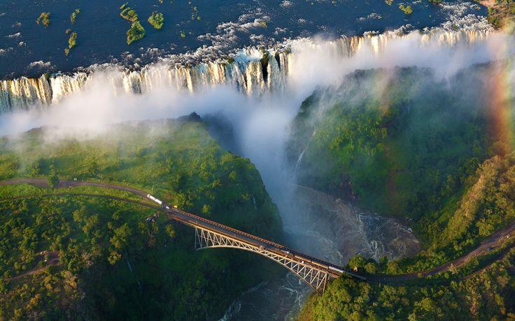 Rzeka, Wodospad, Las, Droga, Most