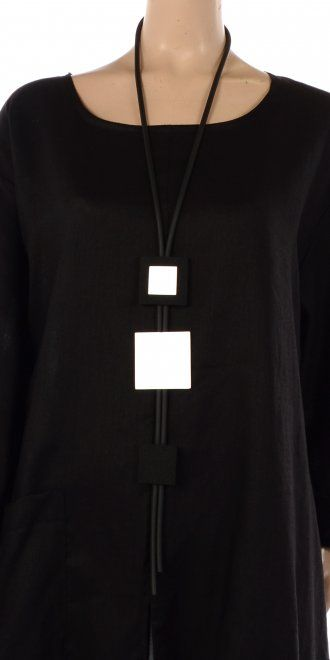 Idaretobe.com Lagenlook Statement Rubber & Aluminium Squares Necklace