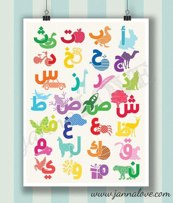 Arabic Alphabet Playroom / Nursery Poster   Alif Baa Taa (ABCs)   18x24in or 14x11in   Original Design by Janna Love Studio on Etsy