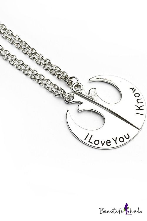 "Popular Alloy Metal Lovers Necklaces // starwars couple necklace ""I love you"" ""I know"""