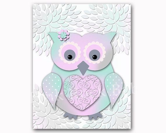 Owl nursery wall decor Mint lavender baby girl bedroom art kids room artwork playroom poster newborn toddler gift shower decoration print ........   This listing is for one unframed high quality print that is 8X10 inches tall. If you need a special size just contact me.  You will receive real photographs, not inkjet prints. All my prints are professionally printed on matte high quality photo paper with premium inks.  All my prints can be personalized with initials, names, dates. If you like…