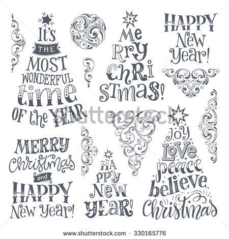 Vector set of holidays lettering and ornamental elements. Merry Christmas and Happy New Year text le…