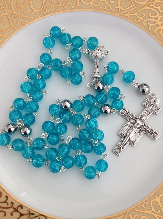 Teal Rosary First Communion Rosary by AwfyBrawJewellery on Etsy