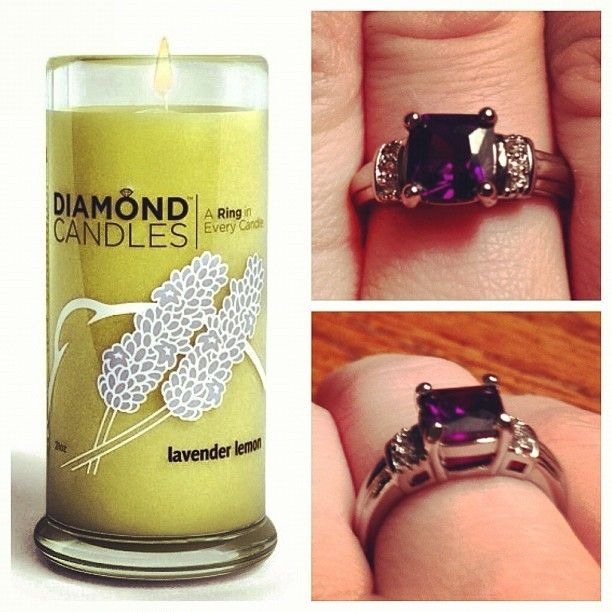 """Diamond Candle - hidden in the candle is a ring worth anywhere between $10 - $5000""....can we say great gift"