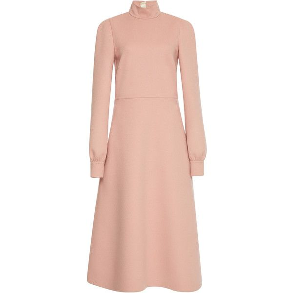 Rochas Wool Double Turtle Neck Dress (€2.330) ❤ liked on Polyvore featuring dresses, rochas, pink, red dress, long sleeve turtleneck, pink long sleeve dress, red turtleneck dress and midi dress