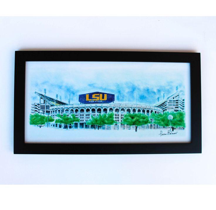 LSU Football office gift Print LSU gifts lsu decor LSU stadium art 10x20 wall art by Artbypierre on Etsy