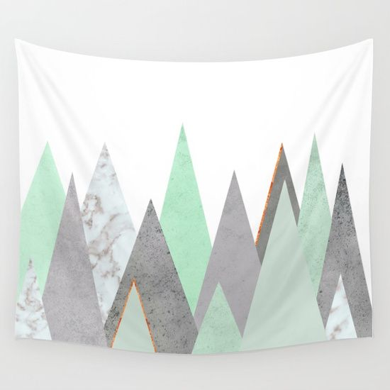 Available in three distinct sizes, our Wall Tapestries are made of 100% lightweight polyester . mint, teal, copper, gold, turquoise, circle, concrete, gray, mountains, triangles, minimalist, geometry, geometric, Scandinavian, minimal, mid century, design, trend, white, fresh, modern, society6, print, tapestry, window curtains, bathroom, bedroom