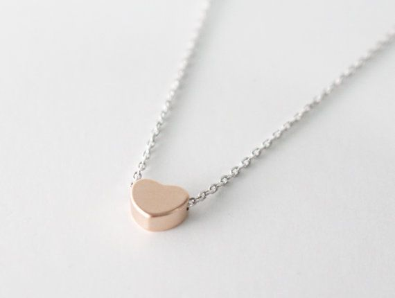 Tiny Heart necklace// Mixed metal// Rose gold by bySiukwan on Etsy