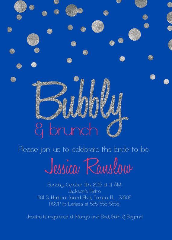 Champagne Brunch bridal shower Invitation/ by glassslipperdesigns