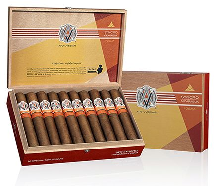 AVO Syncro Nicaragua Fogata Cigars ~  AVO's master blender took the strength and spicy sweetness of Nicaragua's Esteli Ligero and Condega Visus tobaccos and fused them with the softer, creamier notes of AVO's Dominican Yamasa Visus, Piloto, and San Vicente Ligero leaf. This wildly complex filler combination is bound by Mexican Negro San Andreas and wrapped in stunning Habano 2000 Clara from Ecuador for an exotic flavor profile.
