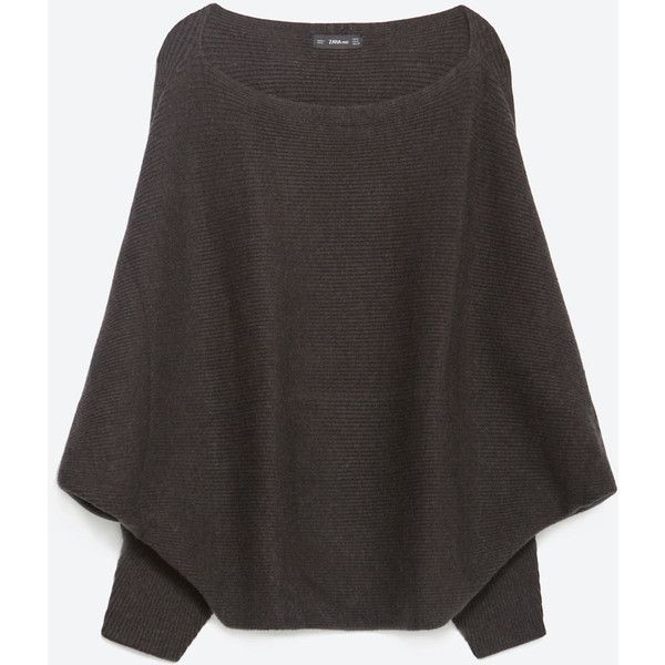 Zara Batwing Sweater ($40) ❤ liked on Polyvore featuring tops, sweaters, dark grey, batwing tops, batwing sweater, dark grey sweater, shell tops and zara sweaters