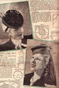 Vintage hat patterns from 1941 in Le petit Echo de la Mode. Click on the link next to the picture to download the magazine as a PDF.