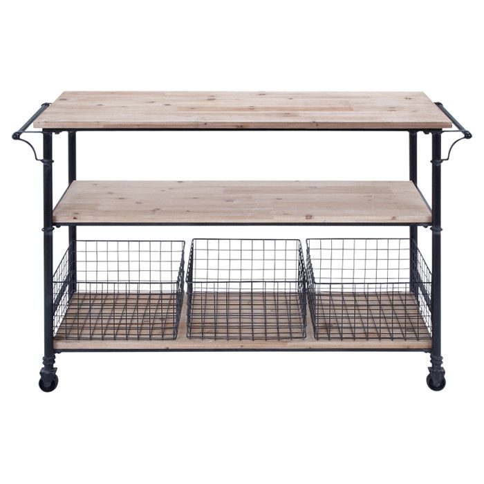 Castered Metal Serving Cart With 3 Wood Shelves And 3 Wire Baskets.  Product: Serving CartConstruction Material: Wood And MetalColor: Natural  And ...