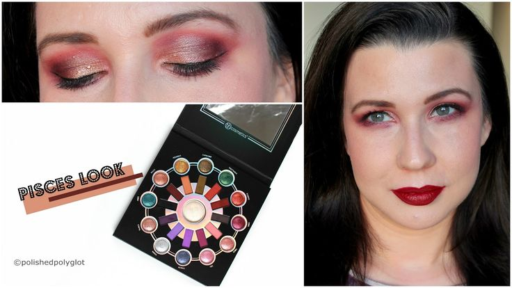 Makeup look in Burgundy for the Zodiac makeup challenge 'Pisces', using the New BH Cosmetics Zodiac palette.
