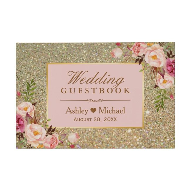 Gold Glitter Blush Pink Floral Wedding Guest Book Floral#Pink#Guest