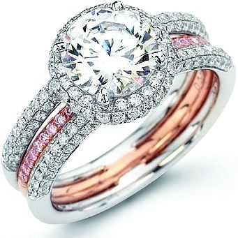 Simon G. Pink & White Pave Diamond Ring: This spectacular engagement ring