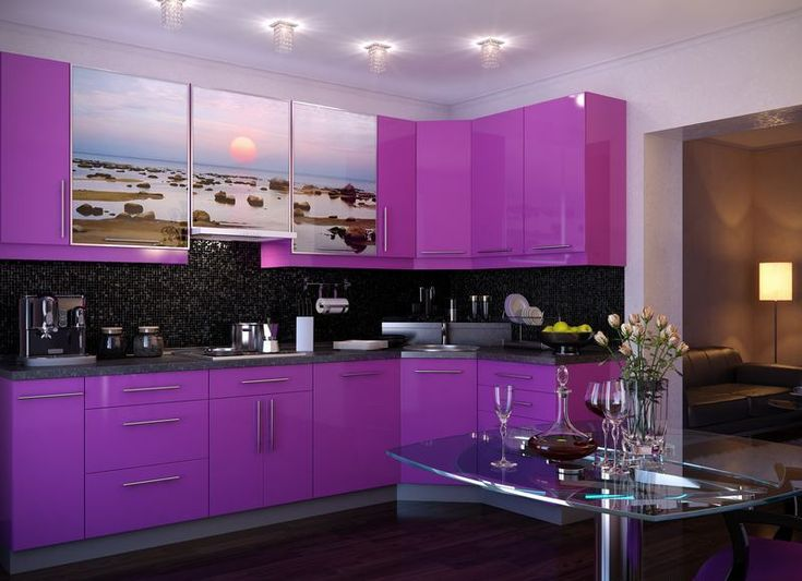 black and purple kitchen accessories