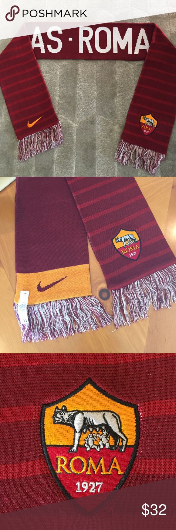 Nike officially licensed Roma Soccer Scarf/New New AS-Roma with fringed ends and double sided designs, embroidered in one side with Nike logo and the other with the Roma insignia, I got in Rome and never used it Nike Accessories Scarves