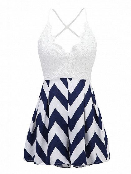 Navy Blue Chevron Skirt Crochet Lace Spliced Top Cami Romper Playsuit