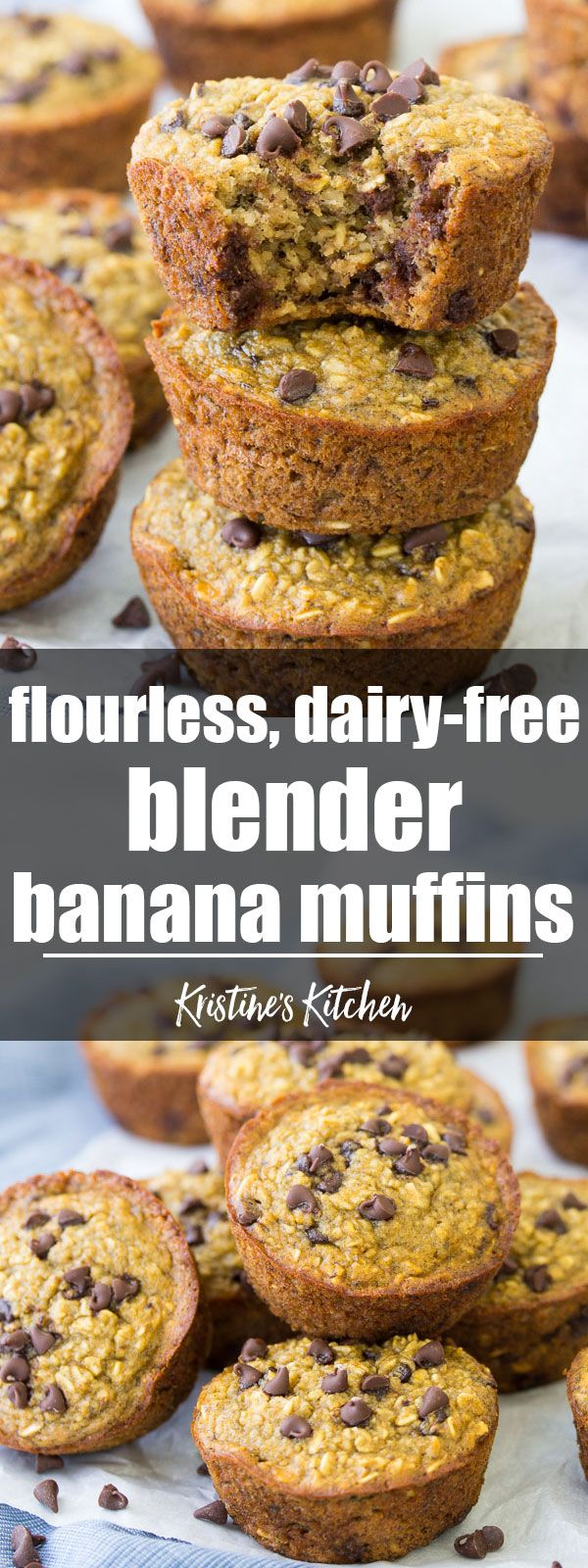 These flourless Healthy Blender Banana Muffins are dairy-free and gluten-free. They are quick and easy to make in your blender! These healthy muffins freeze well for meal prep breakfasts and snacks! #muffins #blender #blenderrecipes #banana #chocolatechip #oats