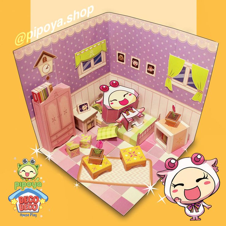 Cute girl's room paper diorama from Decodeco PiPoYa. Papertoy PiPoYa cute Gift and craft
