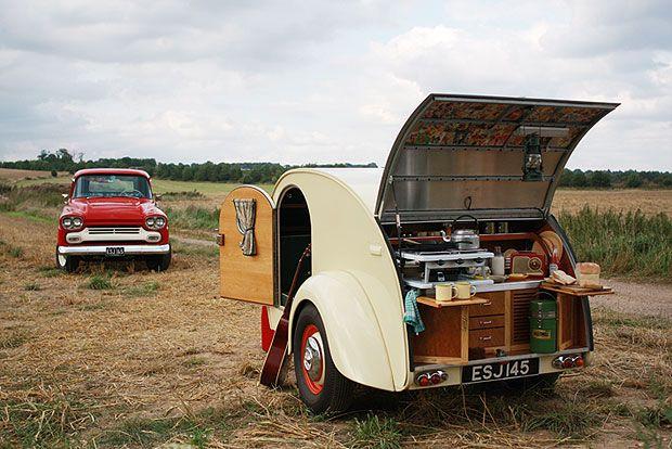 A hand-built replica of an American 1940's Teardrop caravan.