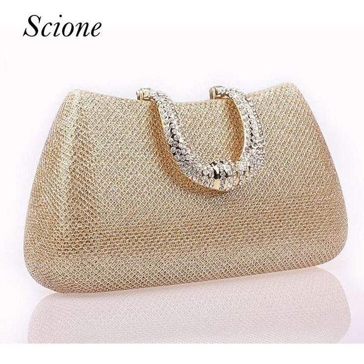 Wallmart.win 2017 New Crystal U Diamond clasp Clutch bags Glitter Silver Evening bags Gold Day clutch party purse Woman Wedding Handbag…
