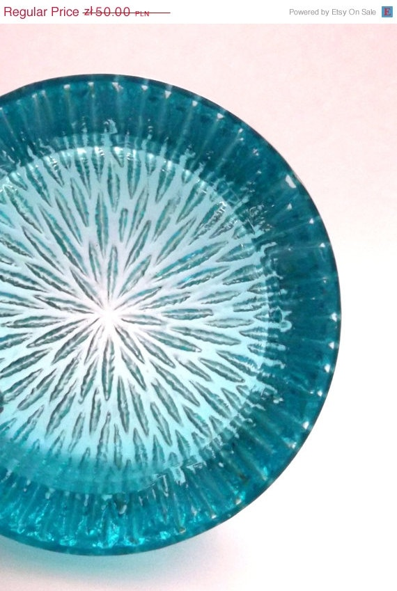 Jablonecke Sklarny Vaclav Hanus 32881 -- aqua blue glass ashtray -- Czech pressed glass