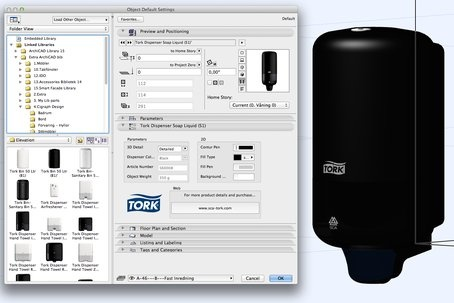 Tork Dispenser Soap Liquid (S1) as a BIM object in 3D